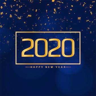 Moderne konfettikarte des neuen jahres 2020