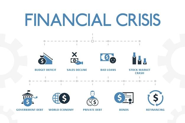 Moderne konzeptvorlage der finanzkrise mit einfachen 2 farbigen symbolen. enthält symbole wie haushaltsdefizit, faule kredite, staatsschulden, refinanzierung und mehr
