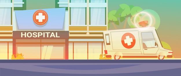 Moderne krankenhaus-gebäudeansicht
