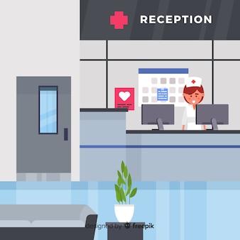Moderne krankenhausaufnahme mit flacher bauform