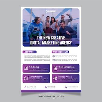 Moderne kreative digitale marketingagenturgeschäftsfliegerentwurfsschablone