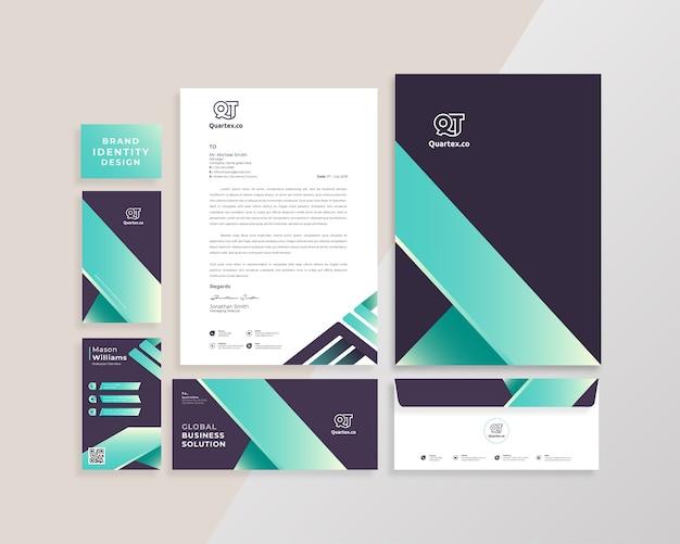 Moderne kreative markenidentitäts-briefpapierschablone