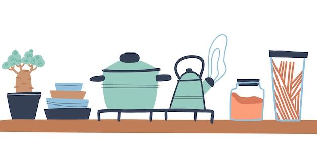 Moderne küche im loft-stil wohnkulturkonzept castroul home pflanzenglas mit müsliplatten