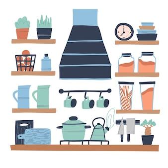 Moderne küche im loftstil zimmerpflanzenglas teller schneidebretter uhr dunstabzugshaube