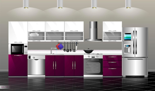 Moderne küche interieur vector illustration küche lila