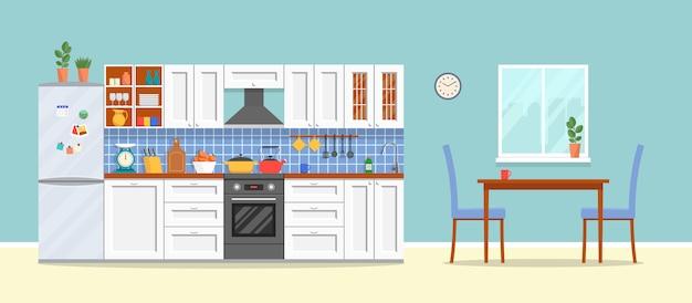 Moderne küche mit möbeln