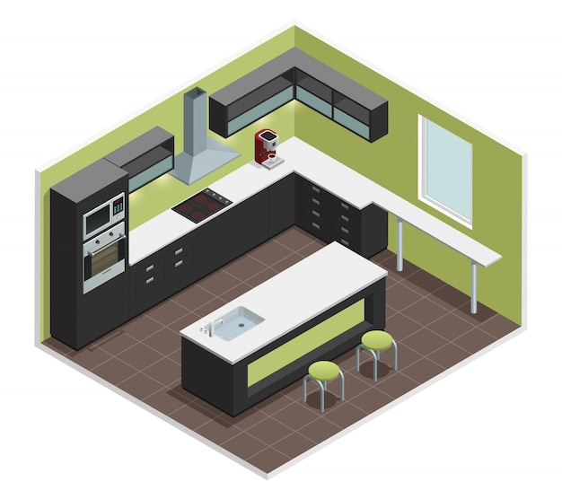 Moderne kücheninnenansicht mit gegenherdherdofen-ofenfachkühlraum