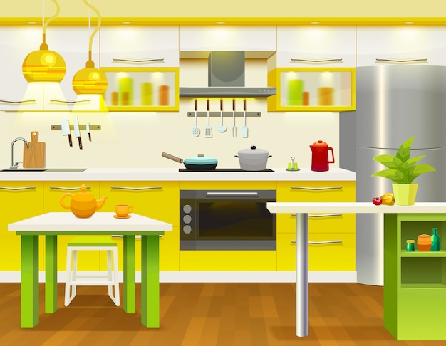 Moderne kücheninnenillustration