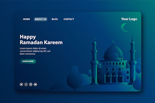 Moderne landingpage für den monat ramadan