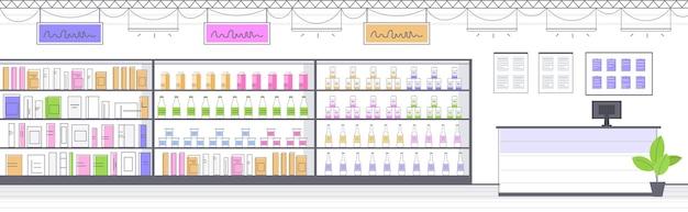 Moderne lebensmittelgeschäft innenraum leer keine menschen lebensmittelmarkt horizontale illustration