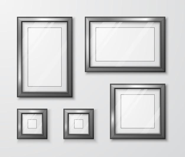Moderne leere rahmenschablone mit transparentem glas und schatten
