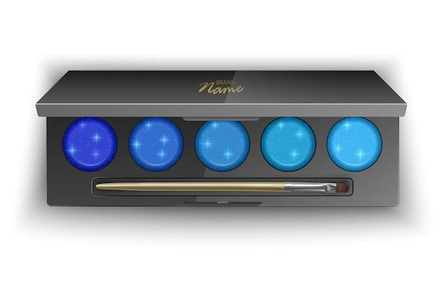 Moderne lidschattenpalette mit hellen farben von dunkelblau bis hellblau. illustration, draufsicht des kosmetischen produkts auf weißem hintergrund, illustration