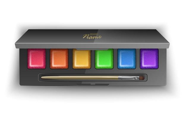 Moderne lidschattenpalette mit hellen und bunten farben. in der 3d-illustration, draufsicht des kosmetischen produkts
