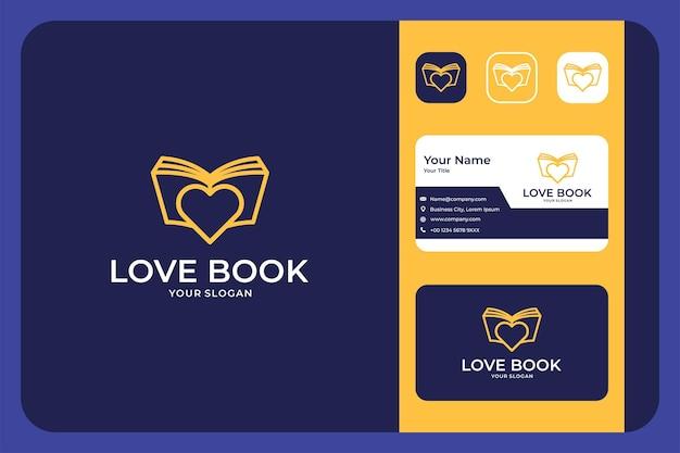 Moderne liebe mit buchlinien-logo-design und visitenkarte