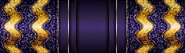 Moderne lila hintergrundvektorüberlappungsschicht auf dunklem schattenraum mit goldener linie dekoration Premium Vektoren
