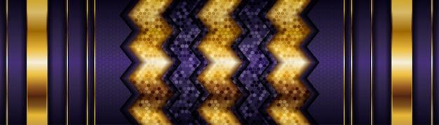 Moderne lila hintergrundvektorüberlappungsschicht auf dunklem schattenraum mit goldener linie dekoration