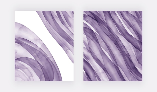 Moderne lila pinselstrich-aquarellhintergründe