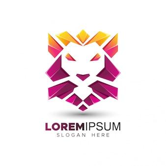 Moderne löwenkopf-logo-vorlage