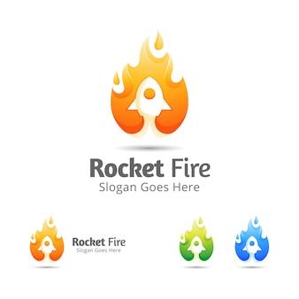 Moderne logo-design-vorlage für raketenstart und brennendes feuer