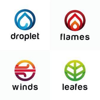 Moderne logo-vorlage mit vier elementen