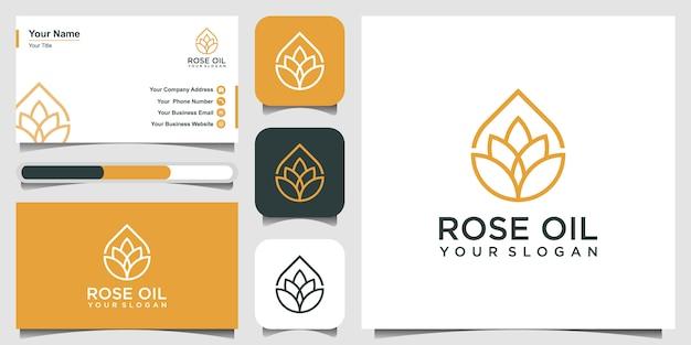 Moderne lotus-zeichen-linienkunst kombiniert mit ätherischen öltropfen wirkt minimalistisch und sauber. logo-design und visitenkarte