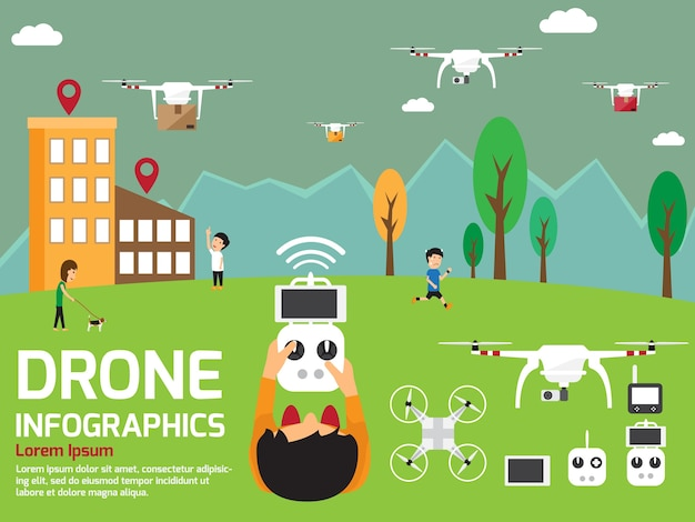 Moderne luft drohnen infografik elemente