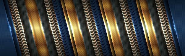Moderne luxus dunkel abstrakte blaue goldene form überlappen stil