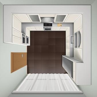 Moderne luxusküche mit weißen kabinetteinbauherden und realistischem bild der draufsicht des kühlschranks