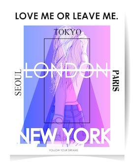 Moderne mädchenillustration mit text: lieben sie mich oder verlassen sie mich