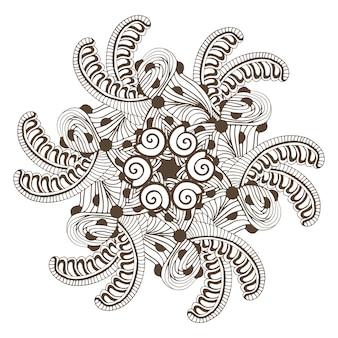 Moderne mandala im zentangle-stil für malbuchseiten. ornamentmuster für tattoo-design