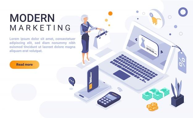 Moderne marketing-landingpage-fahne mit isometrischer illustration