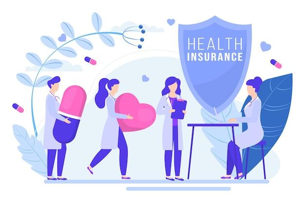 Moderne medizinische schild-krankenversicherungspolitik winzige menschen halten zusammen medikamente flach ...