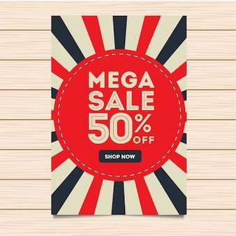 Moderne mega sale banner und flyer illustration