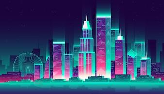 Moderne Megapolis in der Nacht. Glühende Gebäude und Riesenrad in der Karikaturart, Neonfarben