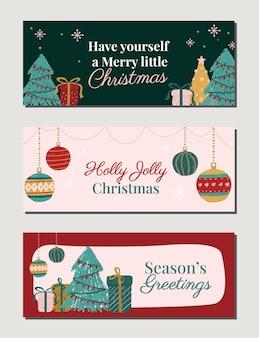 Moderne mehrfarbige weihnachtsfeiertagsillustrationsfahnenbeiträge für einladungsplakate