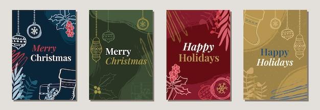 Moderne mehrfarbige weihnachtsfeiertagsposten für einladungsplakate karte social media
