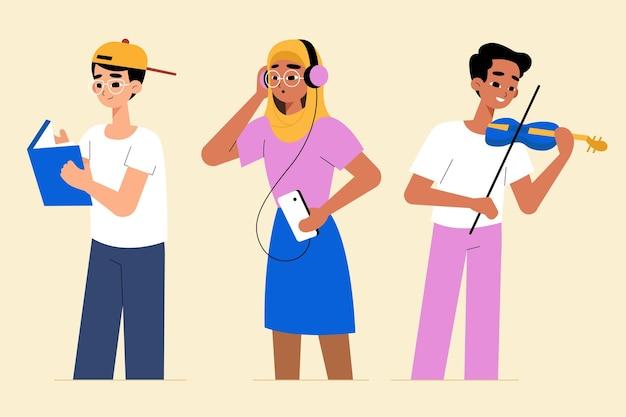 Moderne menschen, die kulturelle aktivitäten betreiben