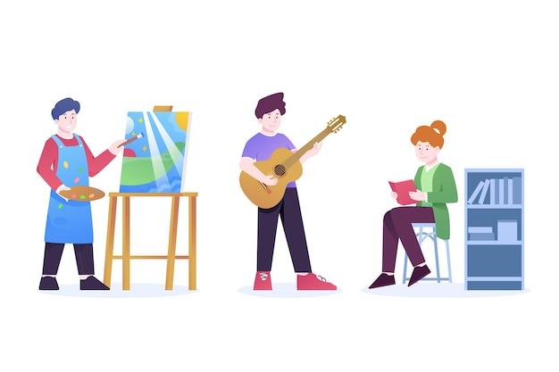 Moderne menschen, die verschiedene kulturelle aktivitäten ausführen, werden illustriert