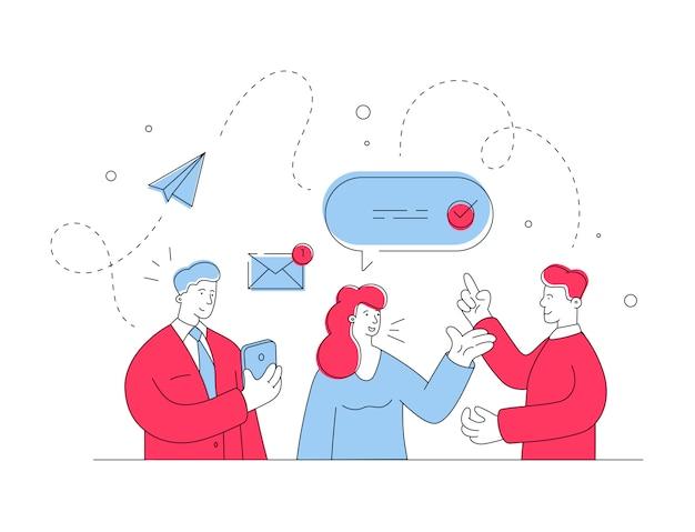 Moderne menschen nutzen online-kommunikation. flache linienillustration