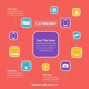 Moderne mind map mit bunten icons