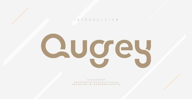 Moderne minimale abstrakte alphabetschriftarten. typografie-technologie, elektronik, film, digital, musik, zukunft, logo-schrift.