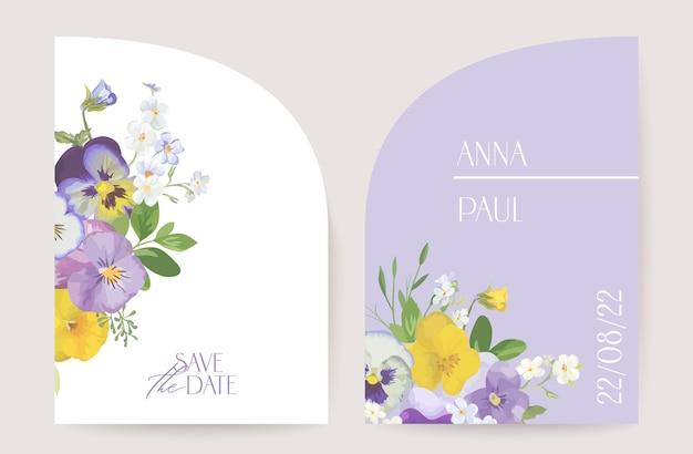 Moderne minimale violette blumenart-deko-hochzeitsvektor einladung. botanische aquarell-stiefmütterchen-boho-karte. blumenrahmenschablone. save the date laub trendiges design, luxusbroschüre, poster