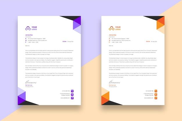 Moderne minimalistische business-briefkopf-designvorlage mit zwei verschiedenen farbeffekten