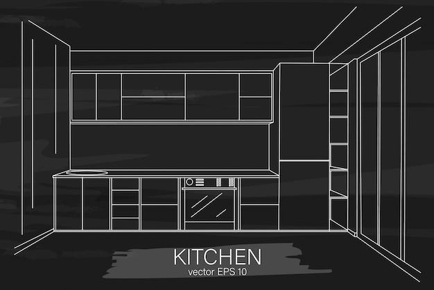 Moderne minimalistische küchenskizze