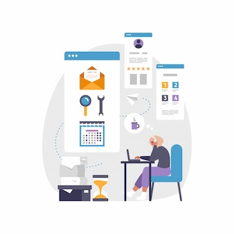 Moderne mobile app für business und arbeit. illustration der frau, die am schreibtisch mit laptop sitzt
