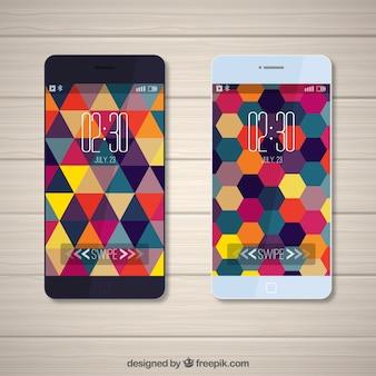 Moderne mobile tapeten von dreiecken und bunte sechsecke