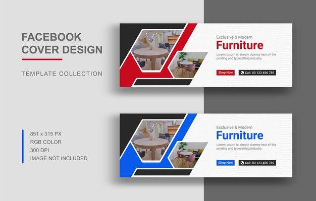 Moderne möbel facebook cover template design