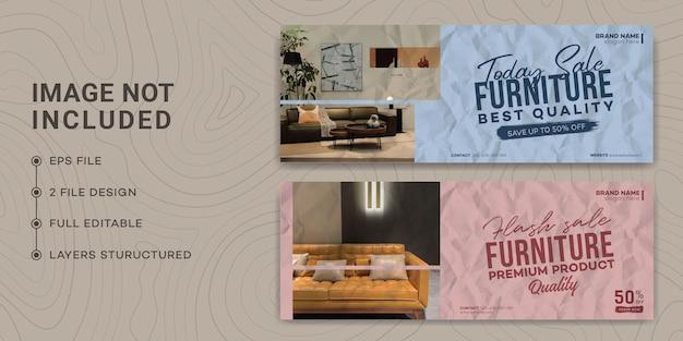 Moderne möbel facebook deckblatt vorlagendesign, geklebtes papier, zerrissenes papier, möbelverkauf