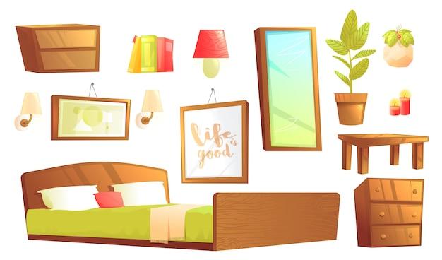Moderne möbel für innenarchitekturelemente im schlafzimmer.