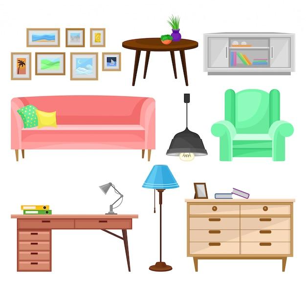 Moderne möbel für wohnzimmer gesetzt, innenelemente illustrationen auf einem weißen hintergrund